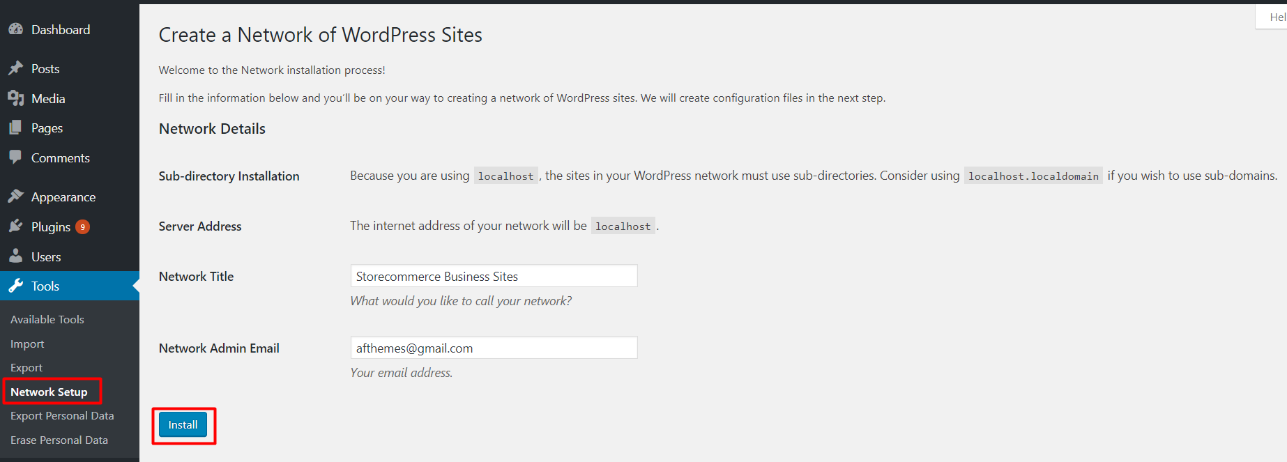 Setup WordPress Multiple Network
