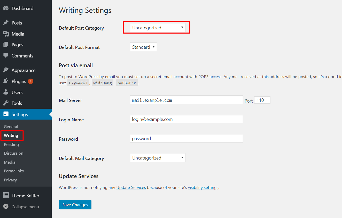 set default wordpress category