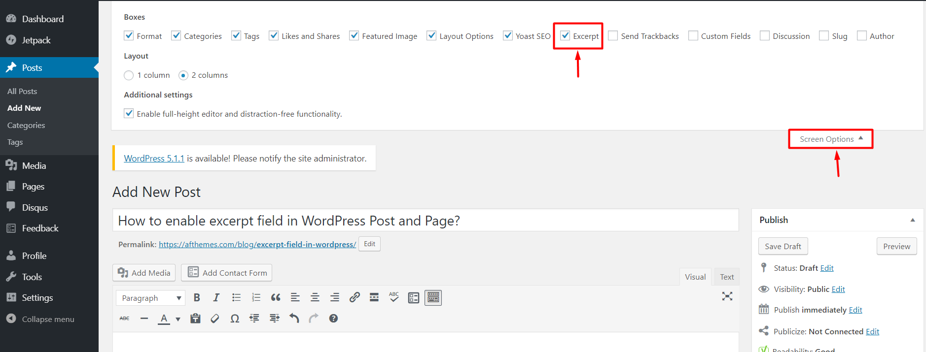 excerpt field in WordPress Post and Page Screen Options