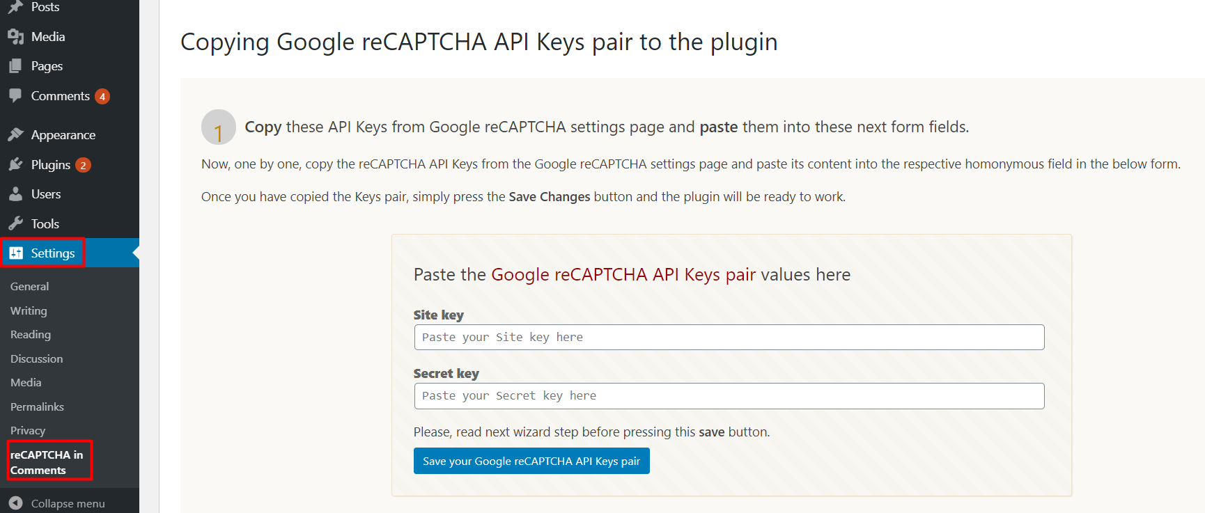 add reCAPTCHA in WordPress Comments Form