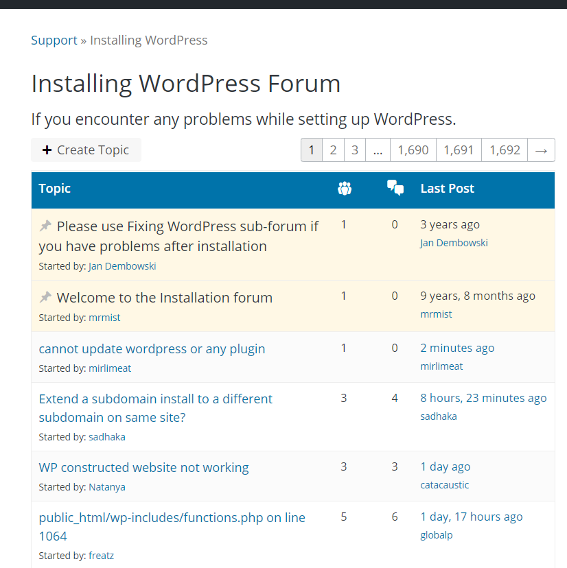 why support forum of wordpress