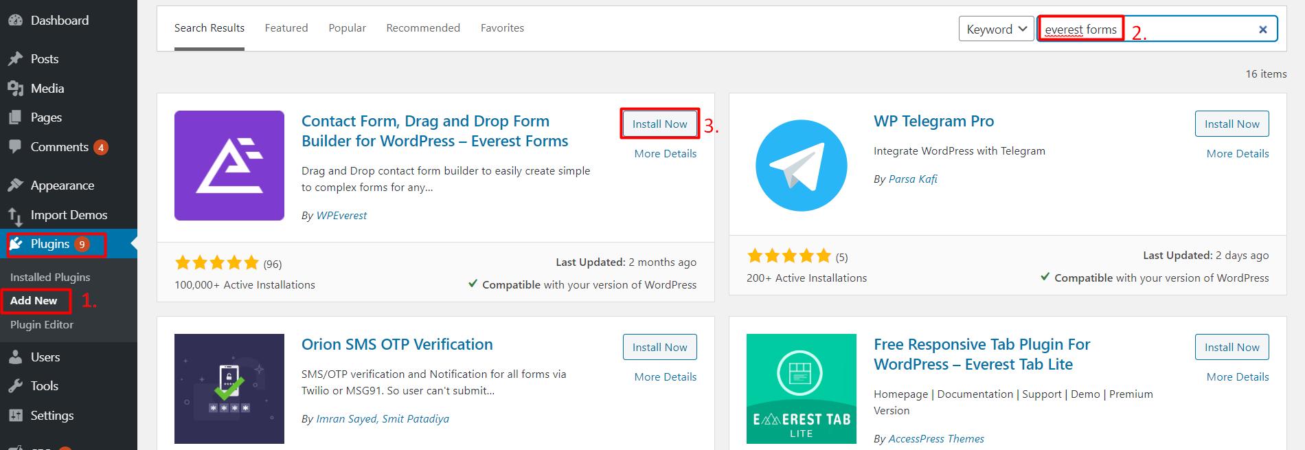 contact form in WordPress website