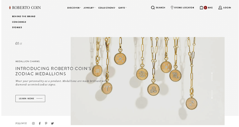 Roberto Coin eCommerce Site