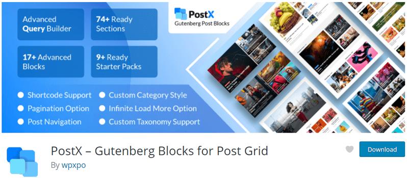 Gutenberg Post Blocks PoxtX Best Post Grid Plugins
