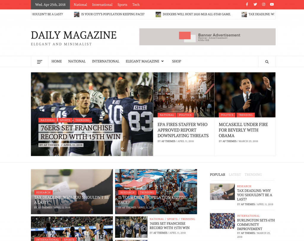 Daily Magazine – Clean, Elegant and Minimalist Free Multipurpose WordPress Blog/Magazine Theme