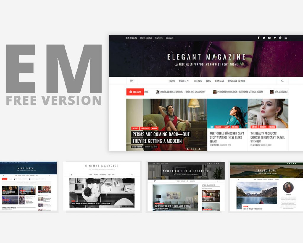 Elegant Magazine – Clean, Elegant and Minimalist Free Multipurpose WordPress Blog/Magazine Theme