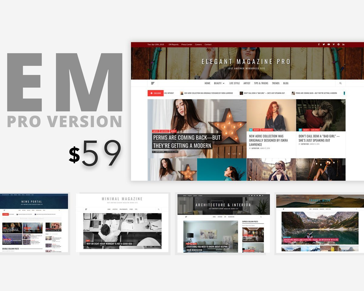 Elegant Magazine Pro – Clean, Elegant and Minimalist Premium Multipurpose WordPress Blog/Magazine Theme