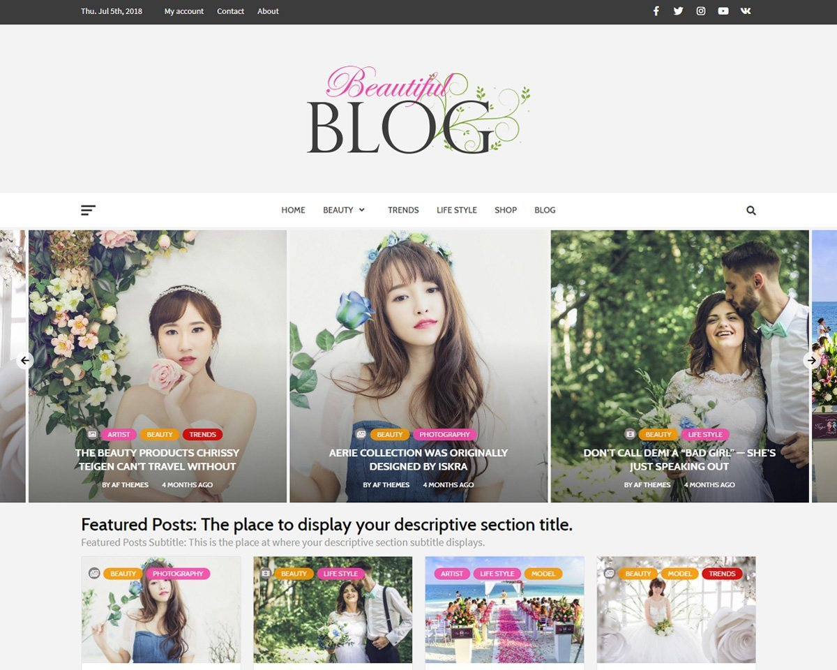 Beautiful Blog - Clean, and Elegant Free WordPress Multipurpose Blog ...